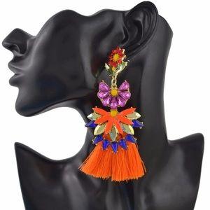 Jewelry - Gorgeous fashion Flower pink orange earrings
